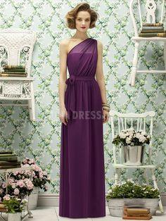 One Shoulder With Sash/ Ribbon Chiffon Sheath/ Column Natural Waist Bridesmaid Dress | #EndoraJewellery | Purple bridesmaid dress | Radiant orchid wedding