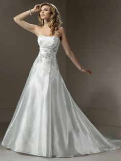 Princess Strapless Taffeta Sweep Train Appliques Wedding Dresses Shop uk