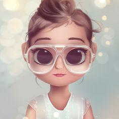Cartoon, Portrait, Digital Art, Digital Drawing, Digital Painting, Character Design, Drawing, Big Eyes, Cute, Illustration, Art, Girl, Doll, Hair, Glasses, Bun