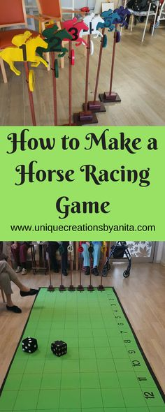 Use something other than horses. How to make a Horse Racing Game – Unique Creations By Anita Horse Race Game, Horse Games, Horse Racing Party, Elderly Activities, Senior Activities, Work Activities, Indoor Activities, Summer Activities, Backyard Games