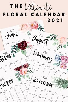 This beautiful printable 2021 Calendar from 3927designs is waiting for you! You get 12 pages in total to decorate your wall, your desk or to fill your planner and stay organized in 2021! Sizes include A0, A1, A2, A3, A4, A5, A6 and Letter. Also, the great thing about digital products is you buy them once and print as many pages as you want for the next 100 years (or as long as printers exist)! #printablecalendar #2021calendar #floralcalendar