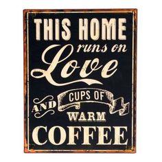 Tin Sign LOVE AND COFFEE - 26cm x 35cm $18.95