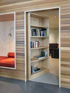 Top 50 Best Hidden Door Ideas - Secret Room Entrance Designs Bookshelf Door, Bookshelf Design, Bookshelves, Bookcase Headboard, Kids Bookcase, Hidden Spaces, Hidden Rooms In Houses, Hidden Doors In Walls, Small Spaces