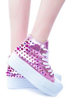 unif clear pink koop platform sneakers