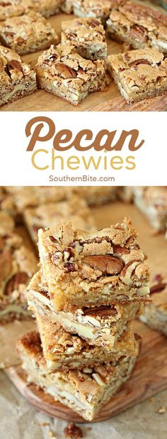 Pecan Chewies are the perfect recipe that's a combination of caramel-y blondies and pecans! They're a family favorites and are absolutely AMAZING! Pecan Desserts, Pecan Recipes, Cookie Desserts, Easy Desserts, Sweet Recipes, Cookie Recipes, Delicious Desserts, Dessert Recipes, Bar Recipes