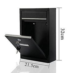 AllRight Steel Letterbox Lockable Mail Box Post Box Wall Mounted Black 10.89 sth