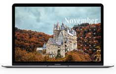 NOVEMBER LARGE DESKTOP WALLPAPER - CASTLE IN THE FOREST IN THE FALL - FREE DOWNLOADABLE DESKTOP WALLPAPERS FOR NOVEMBER 2019. Foliage goals, pumpkins everywhere, everybody just being super thankful and grateful and the like. Hello November, November 2019, Grateful, Thankful, Desktop Wallpapers, Pumpkins, Castle, Printables, Goals