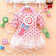 2014 Newest Fashion Spring Kids dress greatly lollipop full version Dot Girl dress T-shirt stitching Baby Girls Dresses