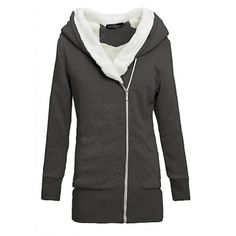 Women' s Hoodie Cotton Jacket Fluffy Long Sleeve Coat