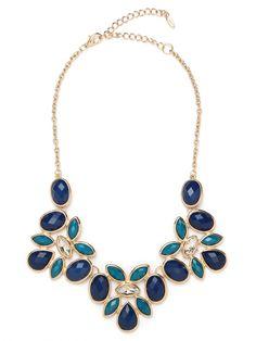 Royal floral bib necklace $32