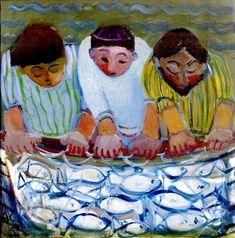 Чудесный улов Anthea Craigmyle - The miraculous haul of fishes Religious Pictures, Religious Icons, Religious Art, Deep Art, Religious Paintings, Biblical Art, Catholic Art, Art Icon, Paintings I Love