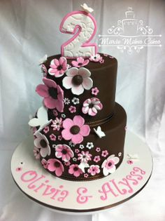 - made for twins :) client provided a picture of a cake very similar, but i could not track down the original designer. really like the brown/pink/white colour combo. all mmf. thanks for looking :D