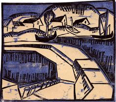 Karl Schmidt-Rottluff, Dünen und Mole (Dunes and Pier), 1917, Colored woodcut, 29 x 33.5 cm, Sheet: 45.8 x 50 cm, Hermann Gerlinger Collection, © Sammlung Hermann Gerlinger, Photograph © Sammlung Hermann Gerlinger: Klaus Göltz.