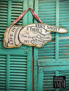 """""""Life Is Very Short"""" Pointing Hand Sign Vintage Style Distressed """"Life Is Very Short"""" Pointing Hand Sign Words from famous Beatles Song """"We Can Work It Out"""" """"Life is Very Short & There's No Time for F"""