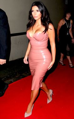 Kim Kardashian's Cleavage, Crazy Curves Barely Contained by Skintight Latex Getup—See the Pic!  Kim Kardashian, Latex