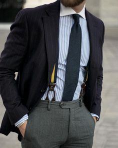 Dark skinny wool tie, suspenders and trousers.