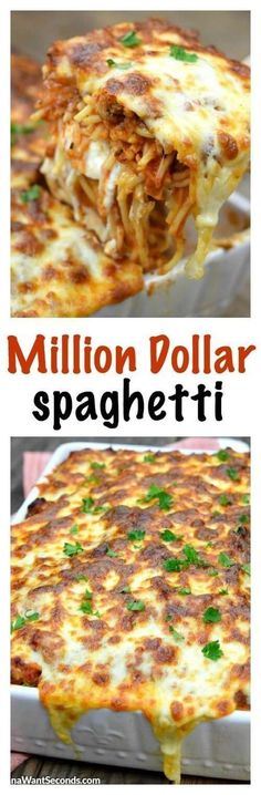 Million Dollar Spaghetti Casserole is an easy hearty casserole. Million Dollar Spaghetti Casserole is an easy hearty casserole that is both budget-friendly and easy to make. This casserole is simple and a great way to feed a family or a crowd! Casserole Dishes, Casserole Recipes, Pasta Recipes, Beef Recipes, Cooking Recipes, Healthy Recipes, Pasta Casserole, Spaghetti Recipes, Dog Recipes
