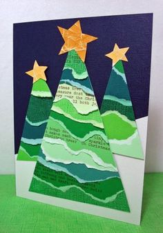 christmas card - torn cardstock trees - sweet!