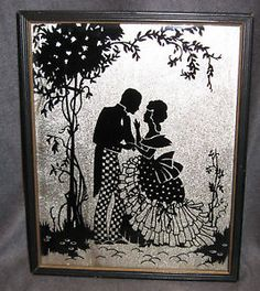 Vintage Foil Painting Silhouette On Glass Frame