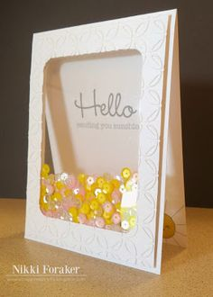 Scrappin' Navy Wife: Hello Shaker Card - the Stitched Journal Die from MyCreativeTime to create my window Cool Cards, Diy Cards, Step Card, Tarjetas Diy, Acetate Cards, Karten Diy, Interactive Cards, Shaker Cards, Card Making Inspiration