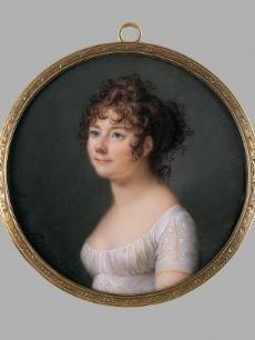 Mme. Madeleine Pauline Du Cruet Augustin - 1801  Fussigny/ France  Portrait miniature - watercolor on ivory  Artist: Jean Baptiste Jacques Augustin (French, b.1759 d.1832)  Cincinnati Museum of Art