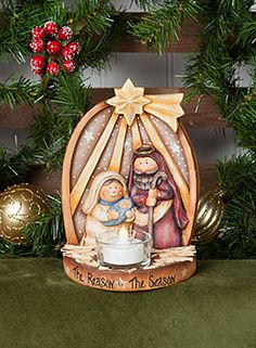 Nativity Tea Light by Karen Strubel pattern and surface now available at ArtistsClub.com