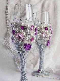 декор бокалов на свадьбу бусинами