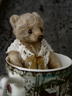 Lily, Miniature Mohair Tea Cup Artist Bear from Aerlinn Bears. $238.00, via Etsy.