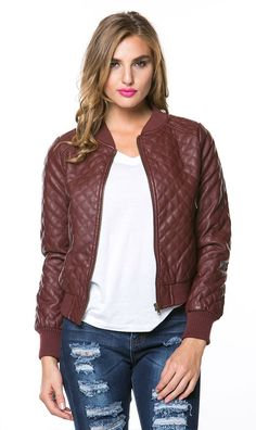 Quilted Bomber Jacket in Burgundy