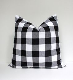 Modern Plaid Check Gingham Designer Pillow Cover 18 Black White Accent Throw Cushion tartan farmhouse country cabin rustic holiday