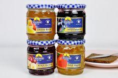 Marmeladenquartett – die vier fruchtigen Extra-Konfitüren von MÜHLHÄUSER machen die Entscheidung welche Marmelade aufs Frühstücksbrötchen kommt, zur Qual der Wahl.