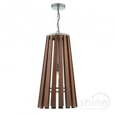Mullion by Dar Lighting A modern wood pendant. A dark wood flared pendant with antique brass finish detail. Double insulated (Class II) 1 x ES GLS Lamp (Not included) Height adjustable prior to installation: Supplied with of cable. Dar Lighting, Dark Wood, Antique Brass, Cable, Ceiling, Flooring, Traditional, Detail, Antiques