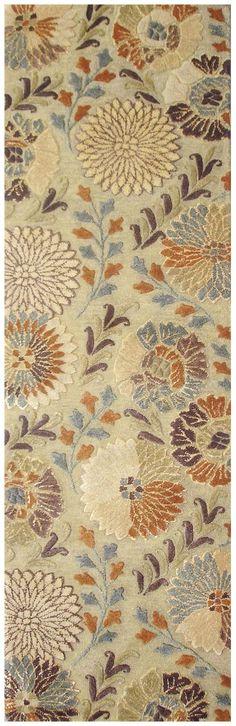Vintage Beige Floral Area Rug