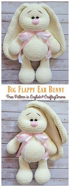 Crochet amigurumi 446278644324372647 - Crochet Big Flappy Ear Bunny Amigurumi Free Pattern Source by karenroussiale Crochet Bunny Pattern, Crochet Amigurumi Free Patterns, Crochet Animal Patterns, Stuffed Animal Patterns, Crochet Dolls, Knitting Patterns Free, Free Crochet, Crochet Stuffed Animals, Amigurumi Tutorial