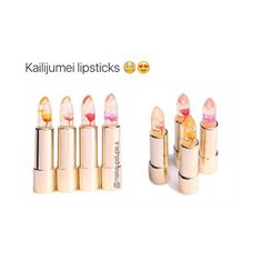 """they're only like $5-6 & colour changing, moisturizing, gold foil flower jelly lipsticks  if you want to buy them you gotta look them up online """"kailijumei lipsticks"""", there are different websites selling them like aliexpress.com"""