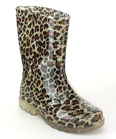 Jelly Beans Taupe & Black Leopard Lightsion Light-Up Rain Boot   zulily
