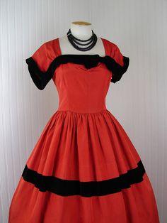 1950s Dress - DEVIL DOLL Vintage 50s Red Black Taffeta Full Skirt Designer Couture Cocktail Party Dress