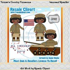 Army Girl Dessert African American Clipart