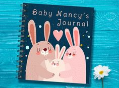 Personalized Baby Journal, Bunny Baby Notebook, First Year Baby Memory Book, Baptism Gift, Baby Shower Gift, Pregnancy Gift, Baby Keepsake by TwoCrewDesign on Etsy