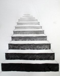 This perspective makes the stairs look like they are getting farther away the higher they get. 3d Art Drawing, Pencil Art Drawings, Art Sketches, Perspective Drawing Lessons, Perspective Sketch, Photo Images, Principles Of Art, School Art Projects, Illusion Art