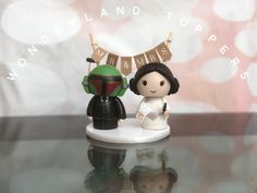 Bobba fett and Princess Leia wedding cake topper Star Wars Cake Toppers, Personalized Wedding Cake Toppers, Cupcakes, Princess Leia, Snow Globes, Wedding Cakes, Etsy Seller, Table Lamp, Clay