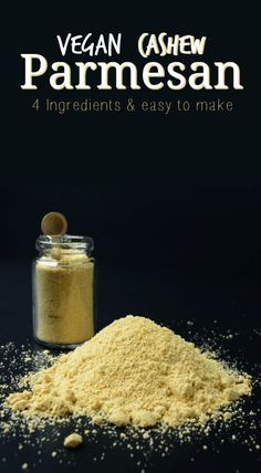 This Vegan Cashew Parmesan only takes 4 ingredients and is easy to make. It's so tasty you'll want to put it on EVERYTHING! Use it as a dairy-free alternative on pizza, pasta, salads and more!