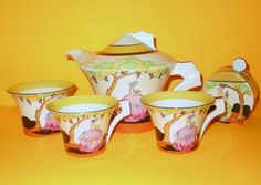 Clarice Cliff Bizarre Applique Idyll Daffodil Tea for Two 1932 found on Ruby Lane