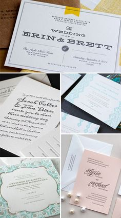 Dauphine Press Larkspur Suite (bottom left) from PaperCrave's Invitation Tuesday.