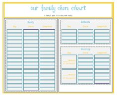 Printable Chore Chart and Organizer
