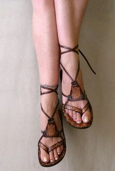 Brown Burnished Leather Lace Up Handmade Flat Sandals by Calpas