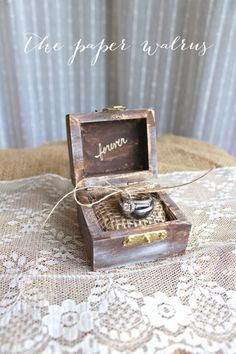 rustic wood ring bearer box with romantic message