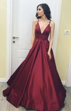 Simple Satin Prom Dress,Long Sexy Low V Neck Prom/Evening Dress,Prom Dress in Burgundy Color