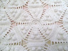 Antique Popcorn Crochet Bedspread Blanket Coverlet 93 x 56 Ivory Farmhouse Chic by SimplyCottageChic on Etsy
