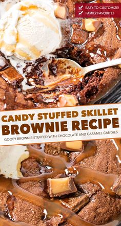 This one bowl brownie recipe is baked in a skillet, which means you can dig right into the gooey, warm brownie right away! Stuffed with caramel and chocolate, this is one loaded brownie! Mini Desserts, Best Chocolate Desserts, Easy Desserts, Delicious Desserts, French Desserts, Chocolate Lovers, Plated Desserts, Oreo Dessert, Dessert Bars